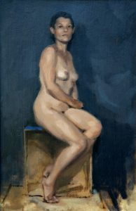 Oil painting of seated nude figure by Helen Davison