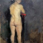 Oil painting of standing nude figure by Helen Davison