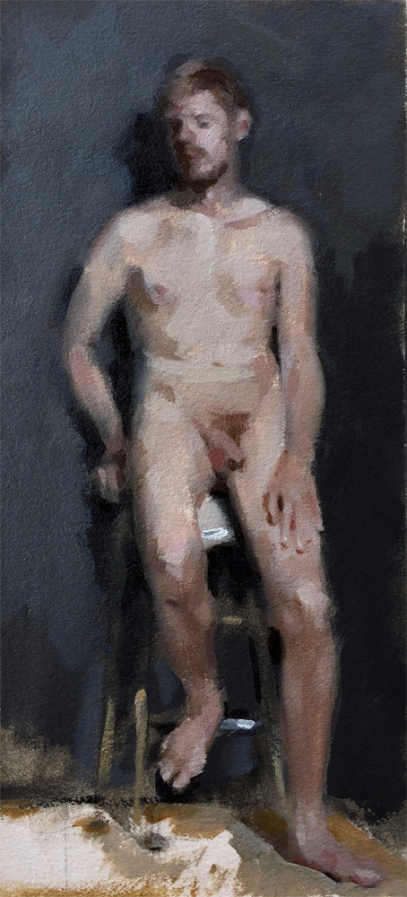 Oil painting of leaning nude figure by Helen Davison