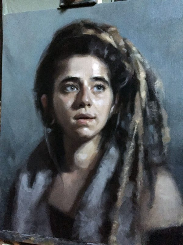 'MaJo' work in progress. Oil portrait on linen, life size by Helen Davison