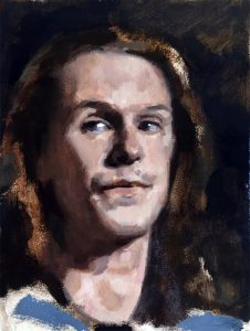 Julian, a small portrait in oil paint by Helen Davison