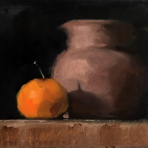 Still life oil painting of a terracotta jug and clementine by Helen Davison