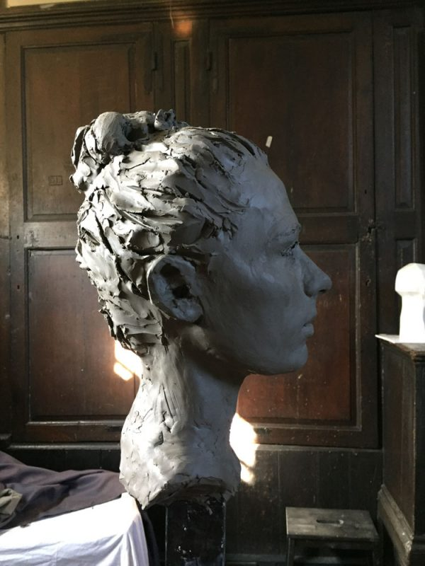 Portrait sculpture in clay by Helen Davison Bradley