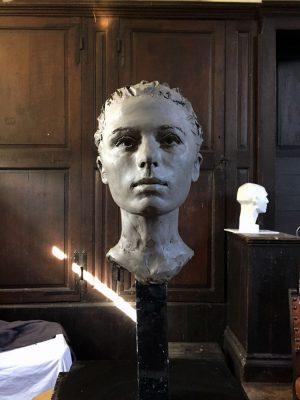 Portrait sculpture in clay by Helen Davison Bradley