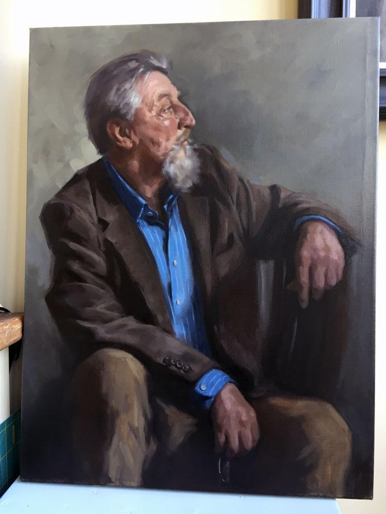 'Tony'. Oil portrait on linen, under life size. 2017 by Helen Davison