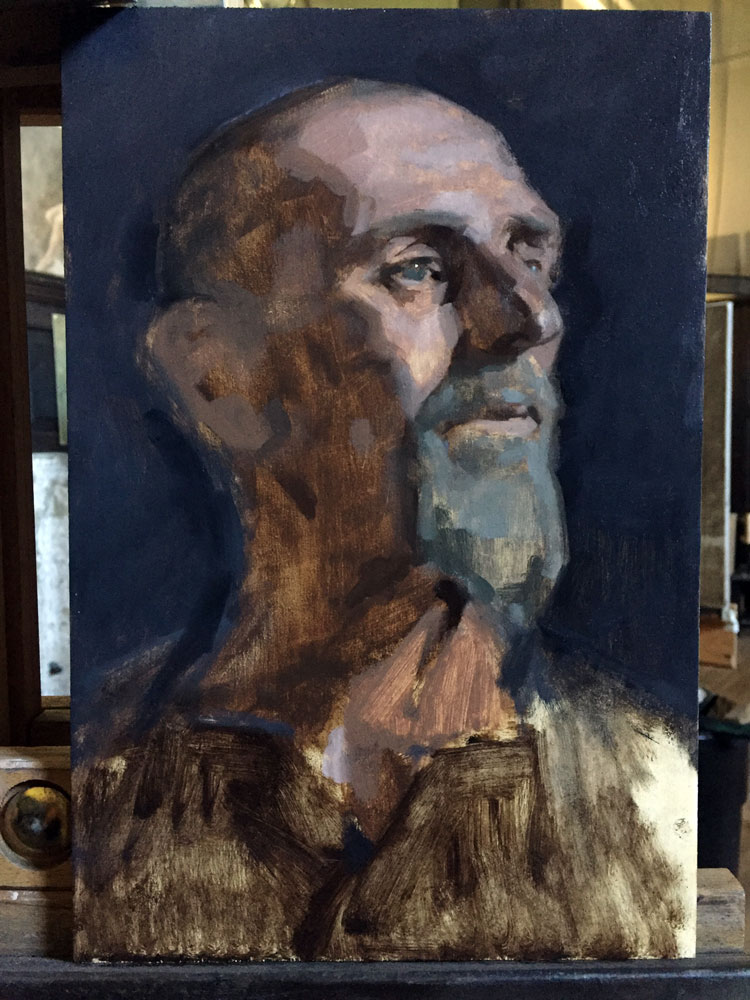 Stage of oil portrait sketch by Helen Davison