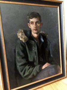 'Justin'. Oil portrait on linen, life size.