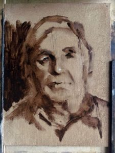 Progress shot of oil portrait of Victor by Helen Davison Bradley