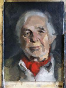 Progress shot of oil portrait of Victor by Helen Davison Bradley