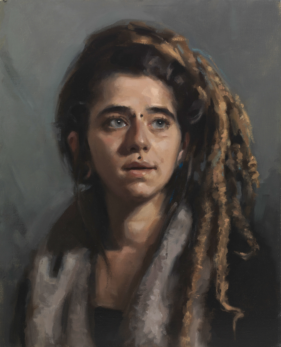 'MaJo'. Oil portrait on linen, life size.
