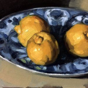 Still life oil painting of bergamots on a Delft plate by Helen Davison