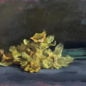 Still life oil painting of wilted daffodils by Helen Davison