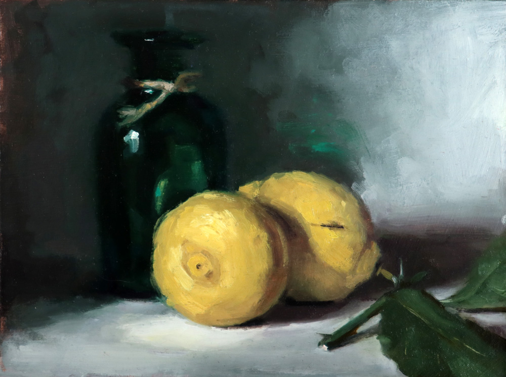 Still life oil painting of a green glass bottle with lemons by Helen Davison