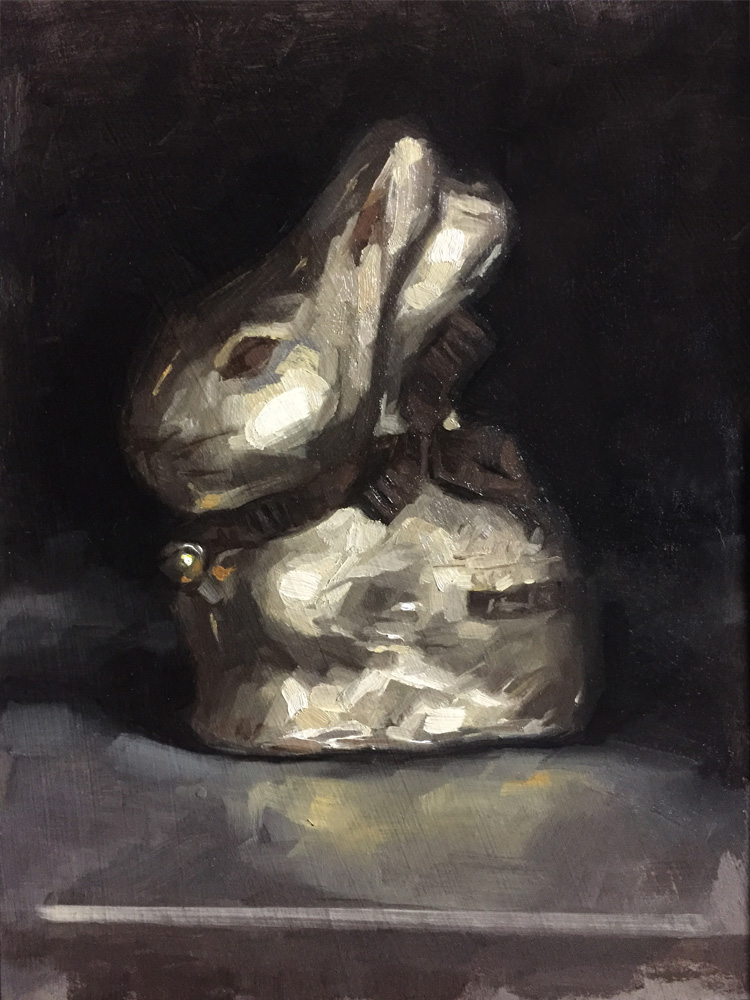 Still life oil painting of a foil wrapped Lindt Bunny by Helen Davison