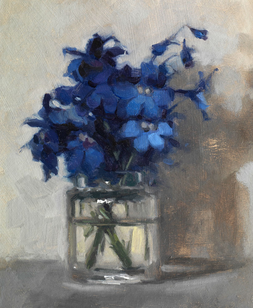 Still life oil painting of Delphiniums by Helen Davison
