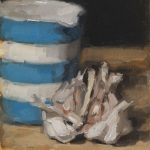 Still life oil painting of garlic with a blue and white jug by Helen Davison