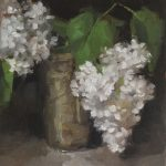 Still life oil painting of white lilac by Helen Davison