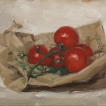 Still life oil painting of tomatoes on the vine by Helen Davison