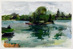 Watercolour painting of a lake at South Cerney by Helen Davison