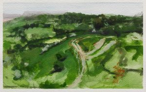 Watercolour painting of a view from Crickley Hill by Helen Davison
