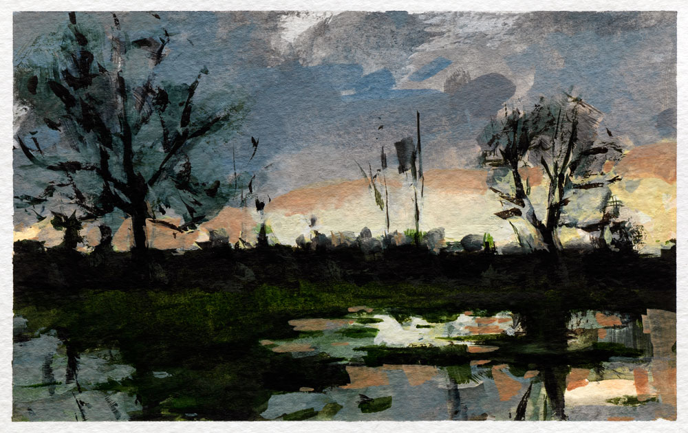 Watercolour painting of flooded field at sunset by Helen Davison