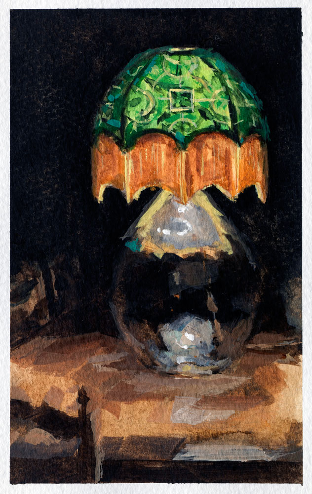 Watercolour painting of an interior with lamp by Helen Davison
