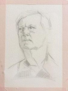 Gouache portrait painting by Helen Davison