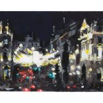 Gouache painting of the view towards Piccadilly at night by Helen Davison