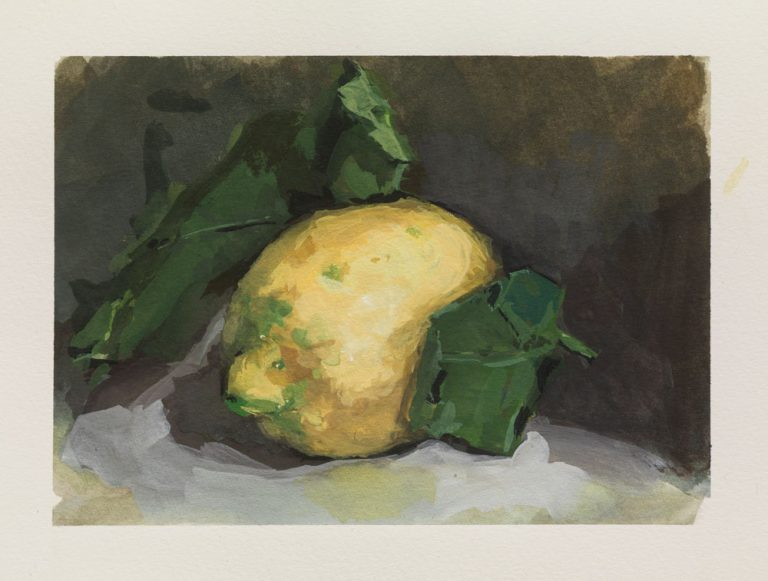 gouache still life painting of a lemon