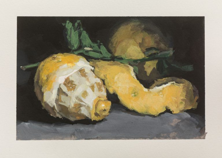 gouache still life painting of lemons