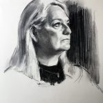 Life-size portrait drawing. Charcoal on Roma paper by Helen Davison