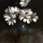 Still life oil painting of cosmos by Helen Davison